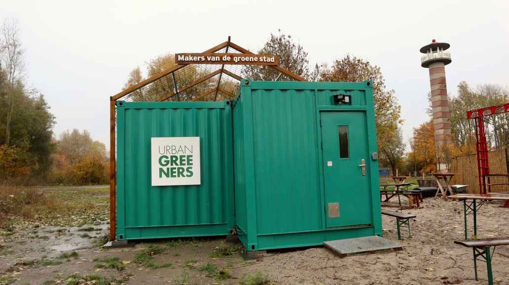 Ontvangstruimte in container Urban Greeners